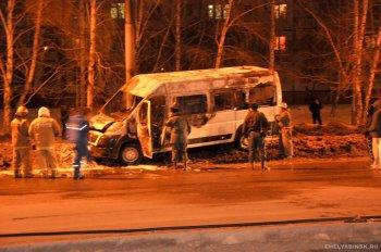 На северо-западе Челябинска сгорела маршрутка